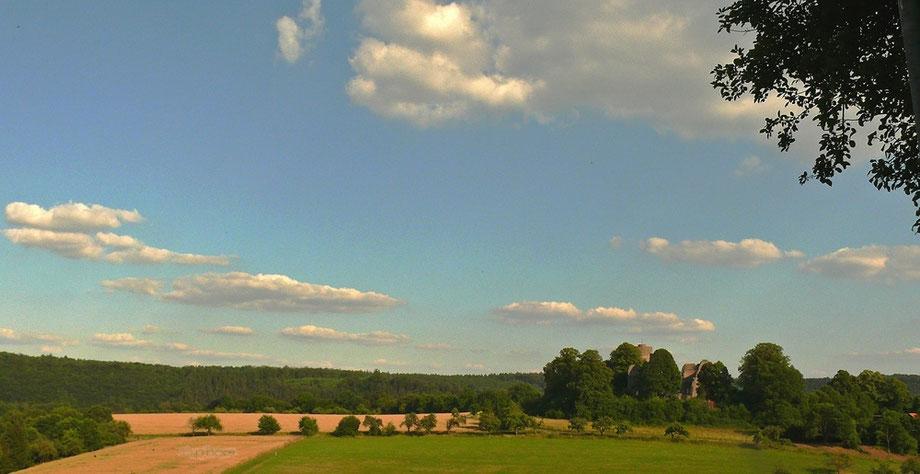 Blick vom Eco-Pfad Helmarshausen auf den Waltersberg mit der Ruine Krukenburg aus dem hohen Mittelalter (12.-16. Jhdt.)