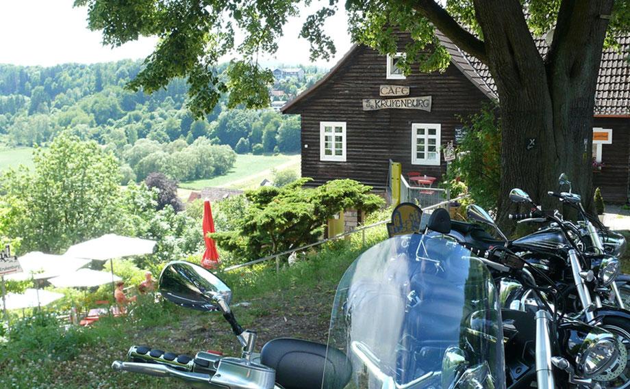 Bikertreffpunkt an der Krukenburg in Bad Karlshafen - Helmarshausen