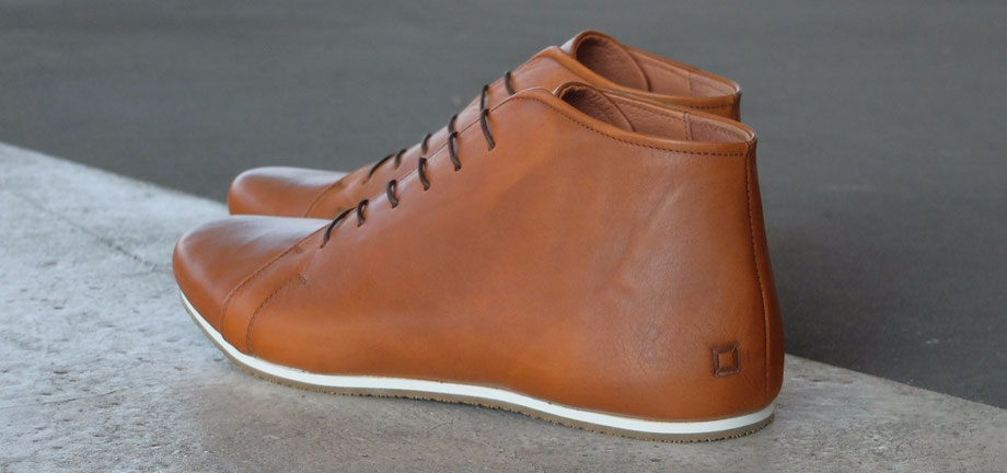 faire Schuhe Lederschuhe Ledersneaker sneaker ankle boots braun cognac