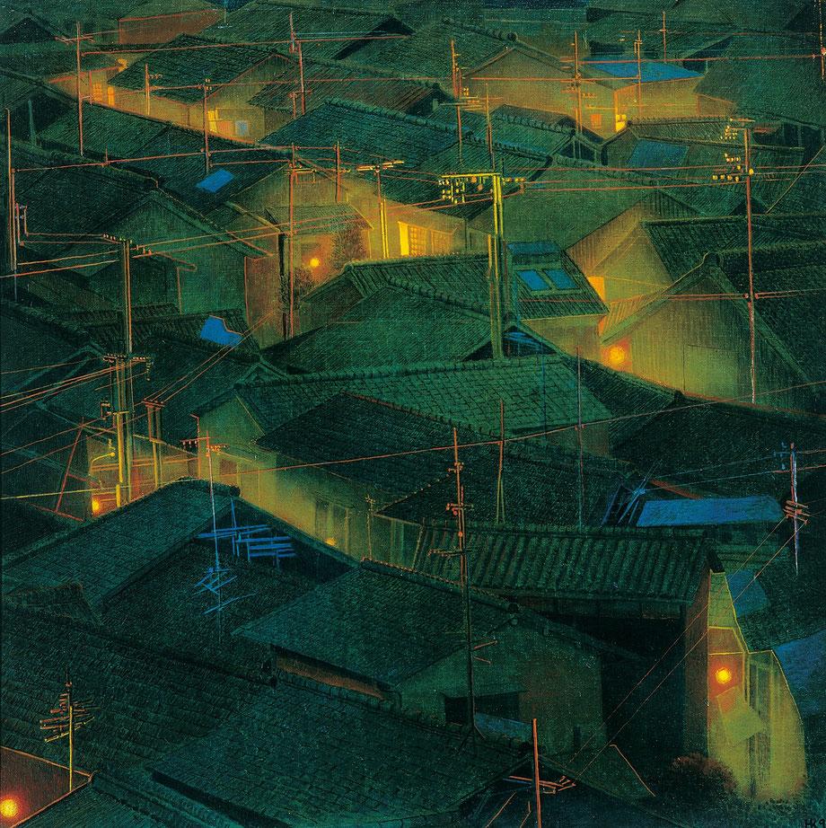 Hanno Karlhuber - Das Fernlicht - Öl/Tempera auf Hartfaser, 70 x 70 cm, 2000