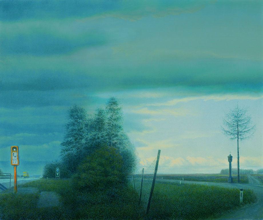 Hanno Karlhuber - Im Zeichen der Zeit - Öl/Tempera auf Hartfaser 100 x 120 cm, 1995