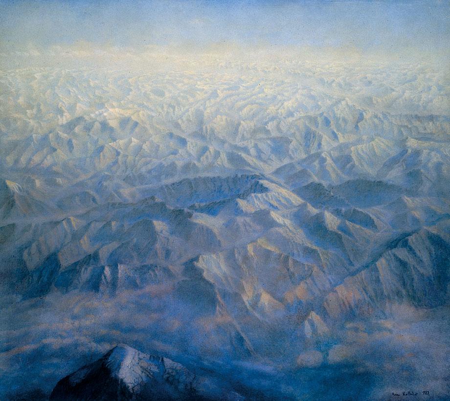Hanno Karlhuber - Flugbild (Over Alaska) - Öl-Tempera auf Holz 100x110cm 1988