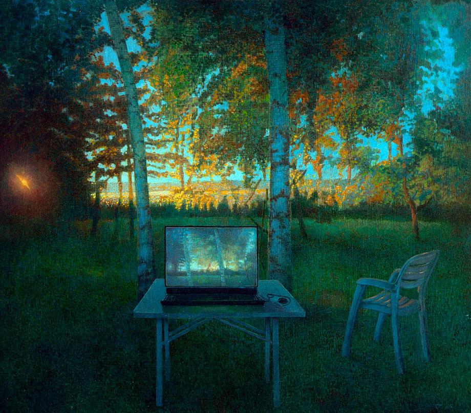 Hanno Karlhuber - Der Laptop - Acryl/Öl auf Hartfaser, 70 x 80 cm, 2012