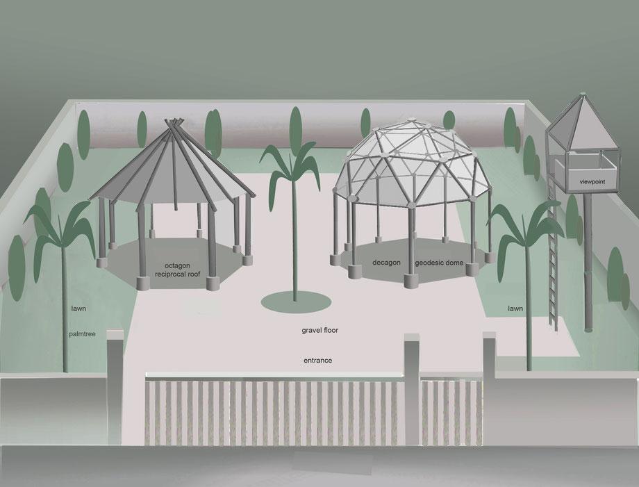 art, Kunst,  architecture, Architektur, octagon, reciprocal roof, decagon, geodesic dome
