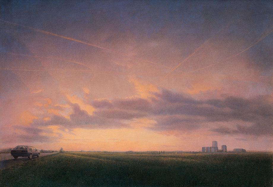 Hanno Karlhuber - Die Heimkehr (Fernweh) - Öl/Tempera auf Hartfaser, 70 x 100 cm, 1993
