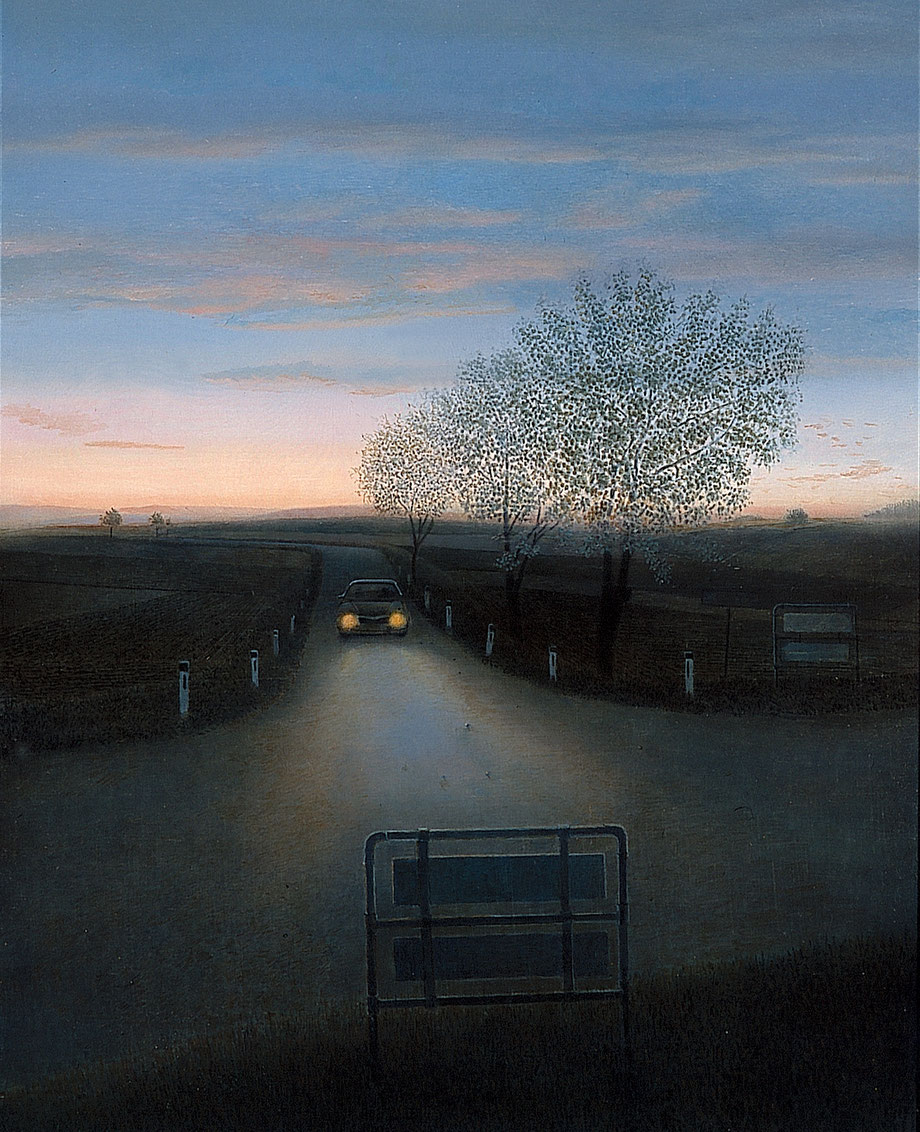 Hanno Karlhuber - Die Suche - Öl/Tempera auf Hartfaser, 70 x 100 cm, 1996