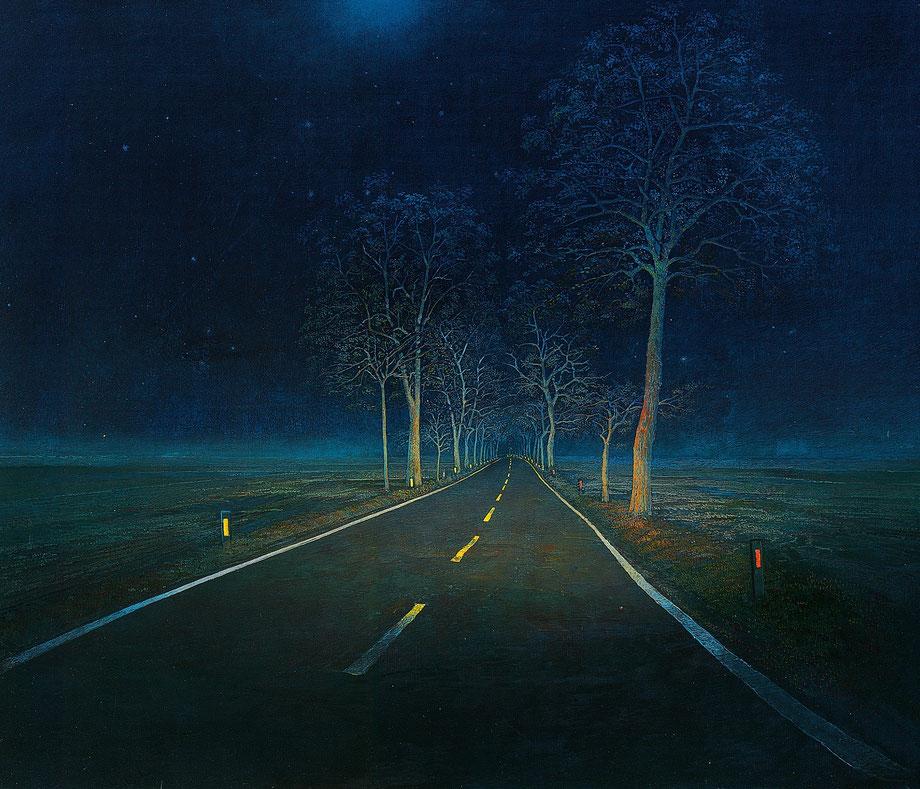 Hanno Karlhuber - Das Fernlicht - Öl/Tempera auf Hartfaser, 70 x 80 cm, 1995