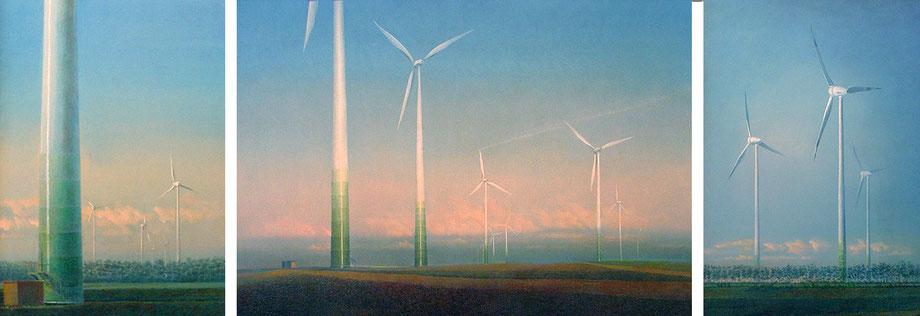 Windräder und Landschaft, Die Spur des Menschen,