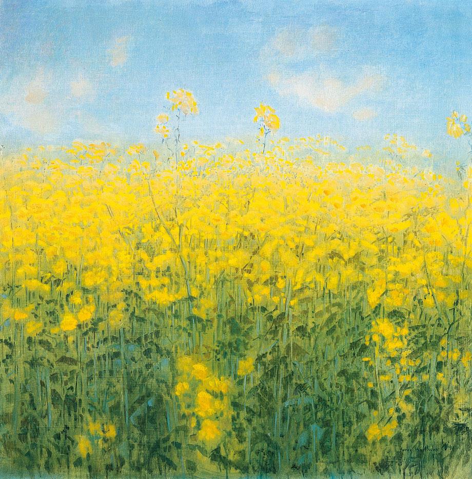 Hanno Karlhuber - Die gelbe Wolkel - Öl-Tempera auf Holz, 70 x 70 cm 1987