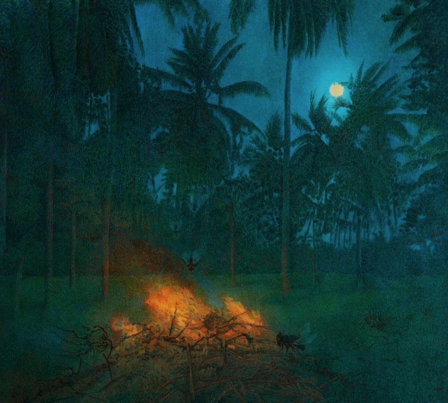 Hanno Karlhuber - Das Abendfeuer, Acryl/Öl auf Hartfaser, 70 x 80 cm, 2012
