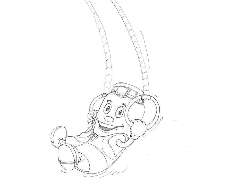 Vitogaz Kindermalbuch: Maskottchen Viti beim Ringe Turnen. Idee und Zeichnung von Lockedesign, Bern