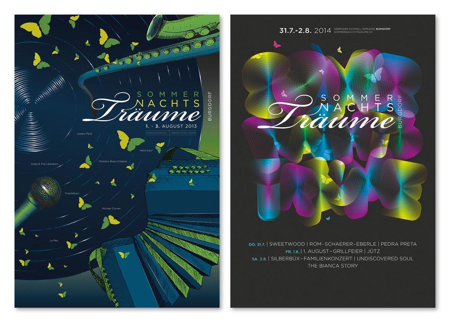 Branding: Graphic Design Festival Plakate by Lockedesign, Burgdorf bei Bern: Sommernachtsträume: Moderne Plakatgestaltung, analog und digital. Typografie