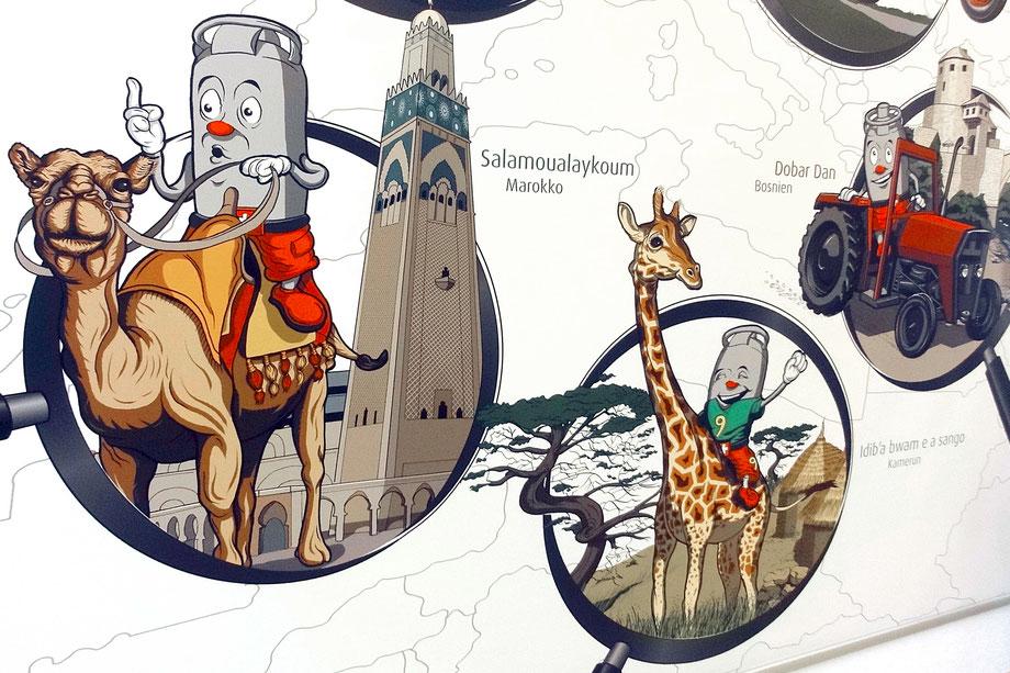 Vitogaz Banner: Vitogaz Zeichnung mit Bleisitift/Tusche und Farbe in Photoshop  Illustration Lockedesign, Burgdorf bei Bern (CH)