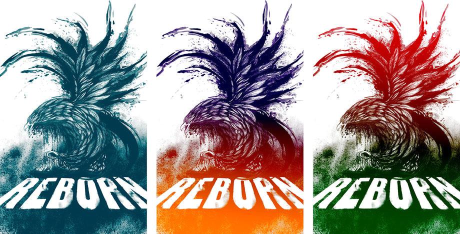 Plakat/Postergestaltung Lockedesign Burgdorf: Farb-Varianten Poster Reborn von Scream your Name Burgdorf