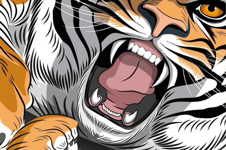 ESA Tecar Kampagne Sommerreifen: Tigerschnauze und Zähne, Vektor Zeichnung Illustrator CC |n Konzept, Idee und Illustration Werbekampagne by Lockedesign Bern |