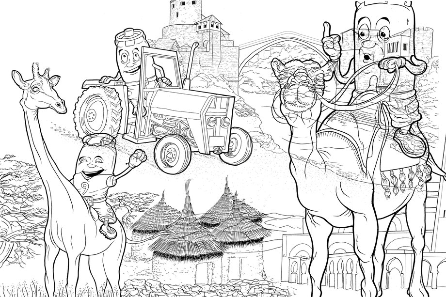 Vitogaz Fertigstellung Zeichnung mit Tusche von Viti. Illustration Lockedesign, Burgdorf bei Bern (CH)