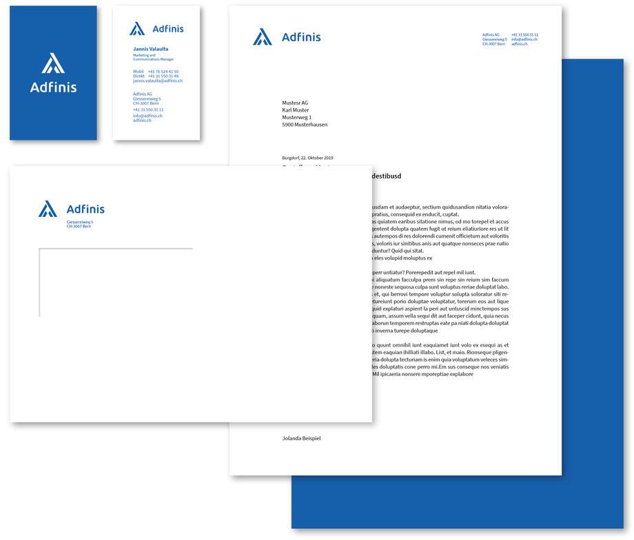 Branding der Marke Adfinis AG, Bern | Entwicklung Logo Design: Gestaltung Schriftzeichen, Briefpapier A4, Visitenkarte.by Lockedesign, Simon Häberli, Burgdorf