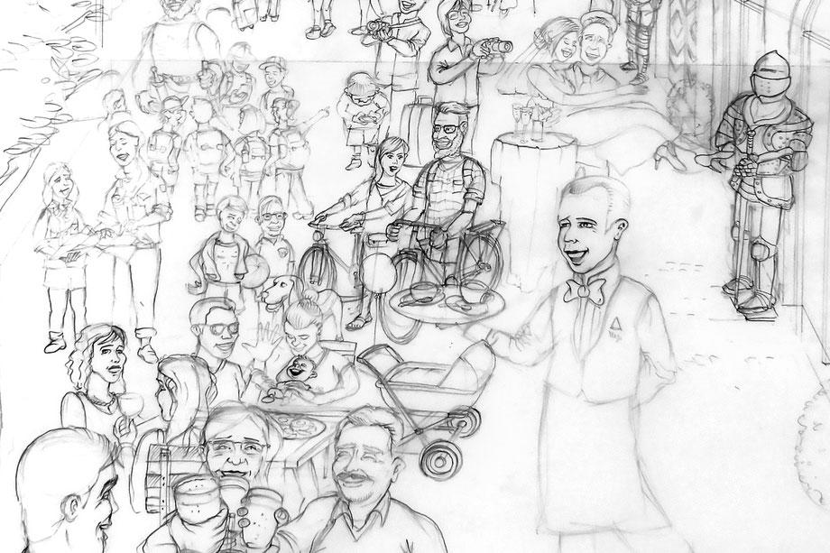 Schloss Burgdorf: Ablauf Illustration Auftrag: Skizze/Entwurf Zeichnung mit Bleistift | Nachträgliche Korrekturen möglich – by Lockedesign Burgdorf