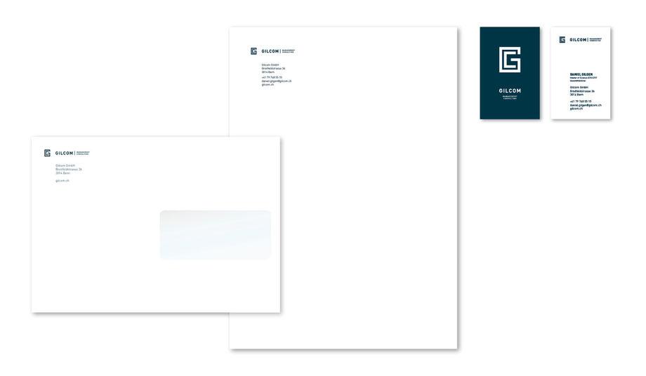 Gilcom GmbH Bern: Entwicklung Logo: Schrift- und Bildzeichen, Visitenkarten, Briefpapier, Couvert