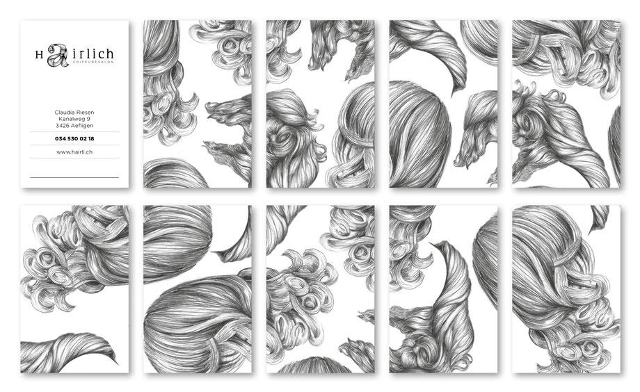 Entwicklung Logo by Lockedesign, Burgdorf: Geschäftsauftritt von hairlich-coiffuresalon. Visitenkarte mit Haar-Illustartionen auf der Rückseite