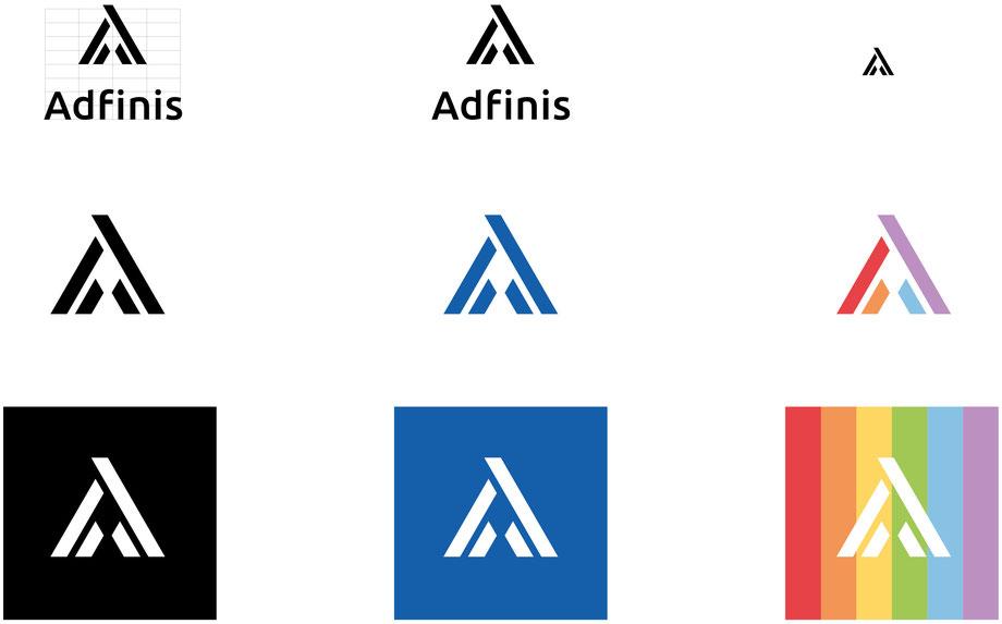 Entwicklung Logo Adfinis AG,  Bern: Entwicklungsprozess Logo Schriftzeichen, Konzeption und Grafik für Visitenkarte, Briefpapier A4, Kuvert C5 und Faltprospekte by Lockedesign, Burgdorf