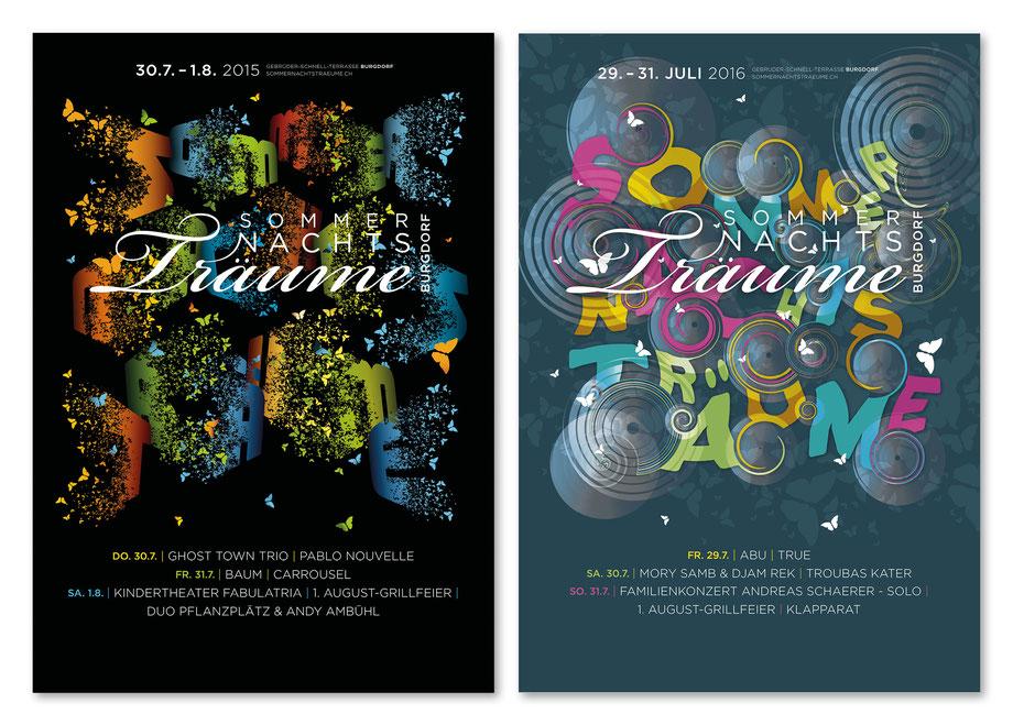 Branding: Entwicklung visueller Auftritt by Lockedesign, Burgdorf bei Bern: Sommernachtsträume: Layout Posterdesign Veranstaltungs-Plakat, Grafik, Typografie