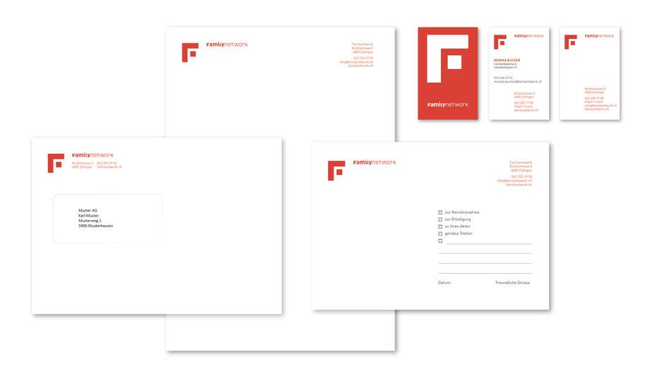 Branding Familynetwork Grafik/Layout Visitenkarten, Kuvert C5 und Geschäftspapier A4 by Lockedesign, Burgdorf