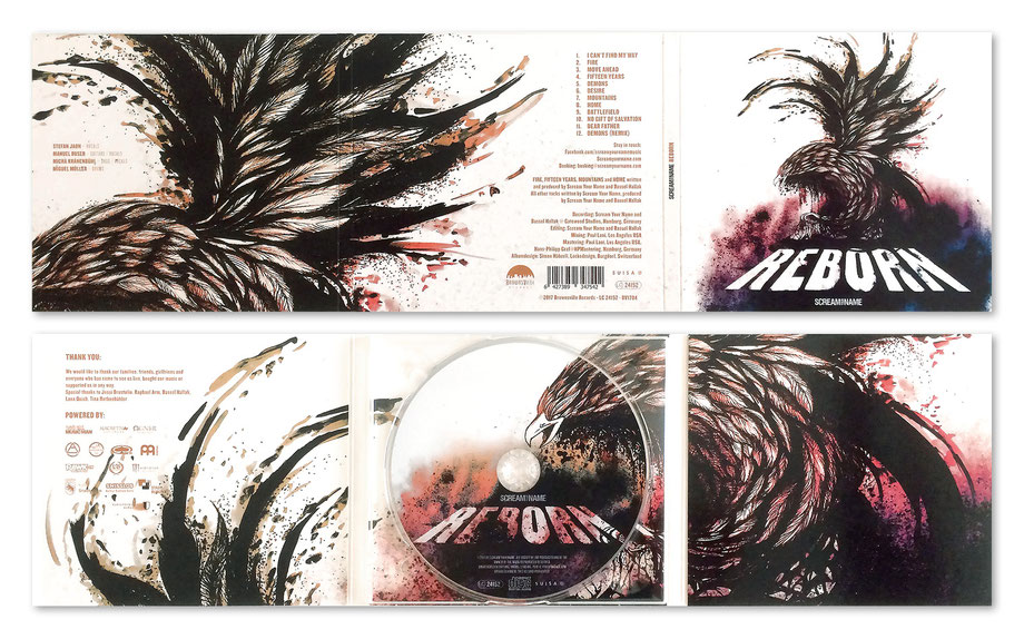 "Scream your Name ""Reborn"": Grafik, Layout und Gestaltung Album Cover (Inlay und CD Scheibe) by Lockedesign Burgdorf: Album-Cover"