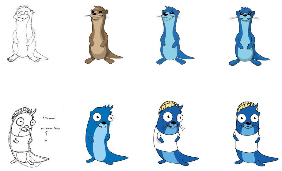 Branding Adfinis AG, Switzerland: Prozess / Entwicklung Otter Maskottchen von Adfinis AG. Vektor, Illustrator Zeichnung by Lockedesign, Bern
