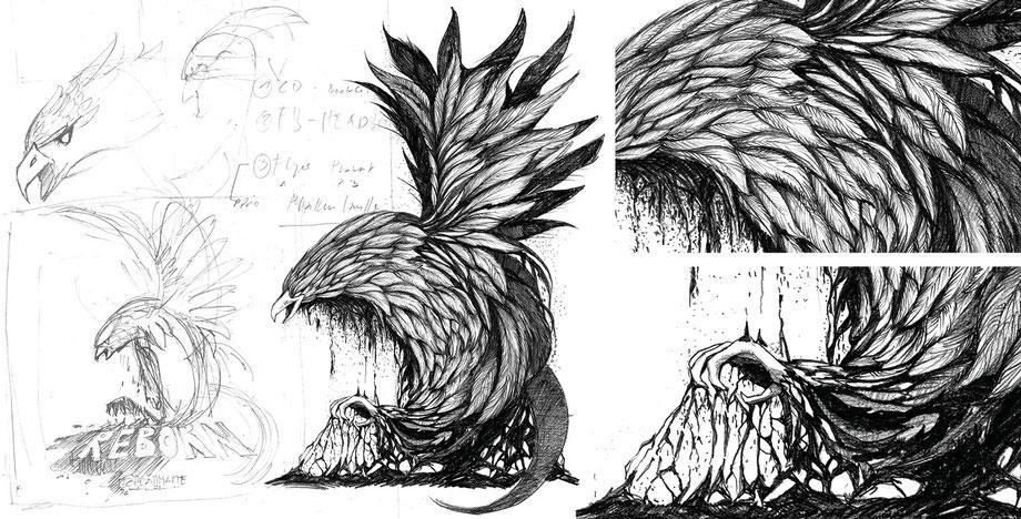 Ablauf Illustration by Lockedesign Burgdorf: Skizze/Entwurf Zeichnung mit Bleistift, Kohle und Tusche