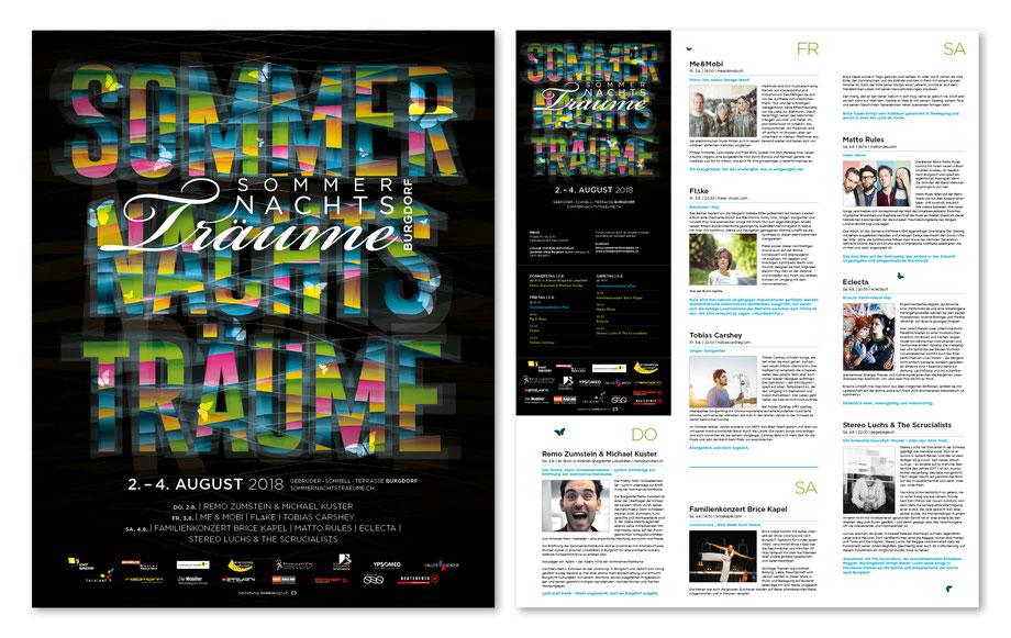 Branding: Entwicklung Corporate Design by Lockedesign, Burgdorf bei Bern: Sommernachtsträume: Layout Faltprospekt Programm Plakat, Grafik, Typografie für Veranstaltung