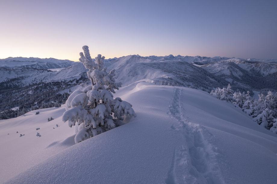 Den Grat hinauf Schneeschuh wandern
