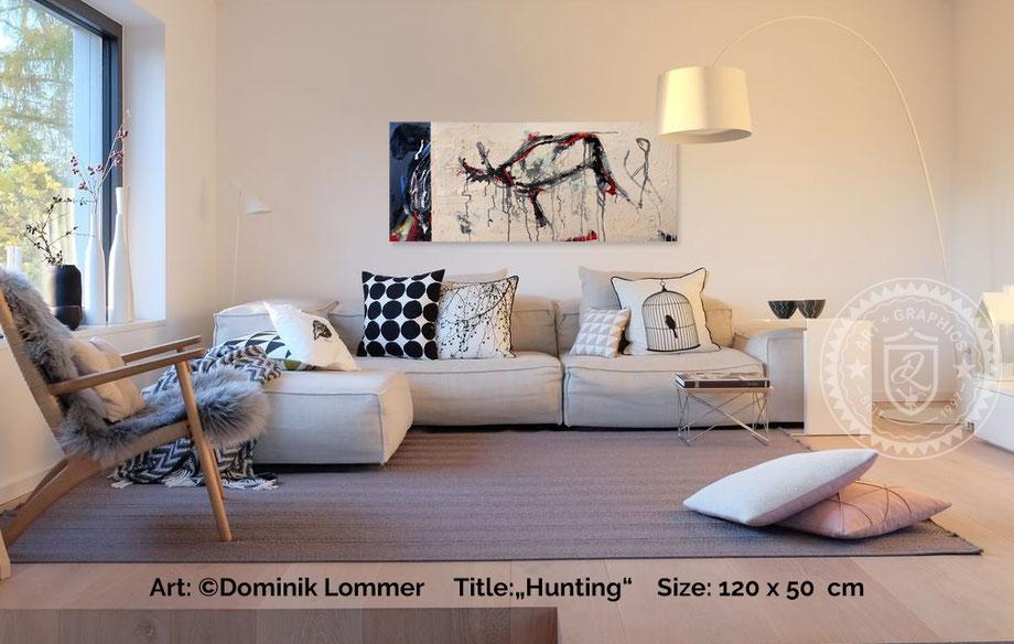 acryl-bilder-gemaelde-querformat-country-style-abstrakte-kunst-bilder-beige-blau-hunting