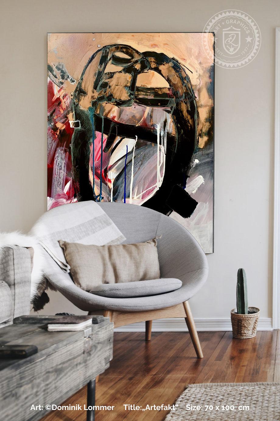 acryl-bilder-gemaelde-hochformat-bohemian-style-abstrakte-kunst-bilder-rot-gold-artefact