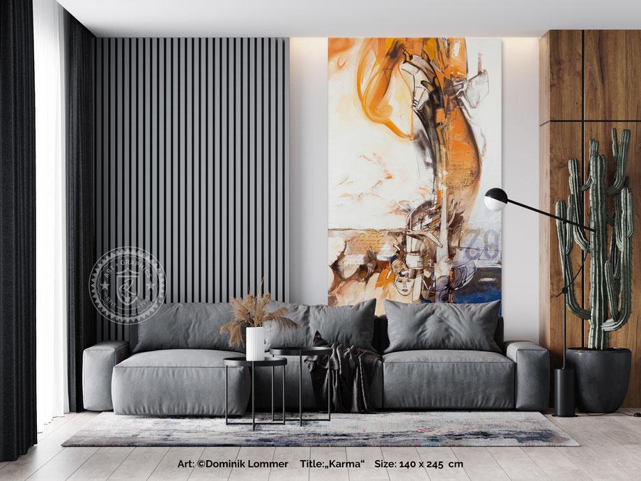 acryl-bilder-gemaelde-zeichnung-hochformat-modern-style-abstrakte-kunst-bilder-orange-blau-karma
