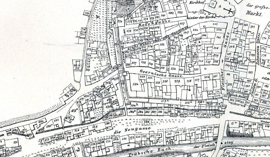 Das einstige Gebiet der jüdischen Siedlung von Meißen- ganz rechts die Jüden-Gasse, wo das Jüdentor zu finden war. In Verlängerung der Rosengasse/große Webergasse nach Südwesten lag der Friedhof. Quelle Plan: Claus-Dirk Langer