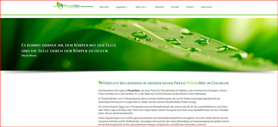 PhysioNeo Praxis für Physiotherapie und Wellness - Referenz Homepages Webdesign - webics thomas drechsel isc Oberfranken | Bayreuth | Kulmbach | Bamberg