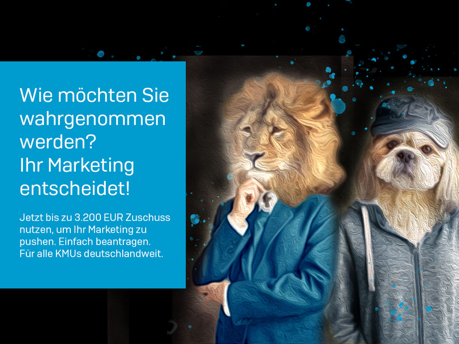 Wie möchten Sie wahrgenommen werden? Ihr Marketing entscheidet! Steht vor hellblauem Hintergrund geschrieben. Es wird auf eine Förderung für KMUs verwiesen. Mittig steht ein souverän wirkender Löwe im blauen Anzug, rechts ein etwas naiv wirkender Hund.