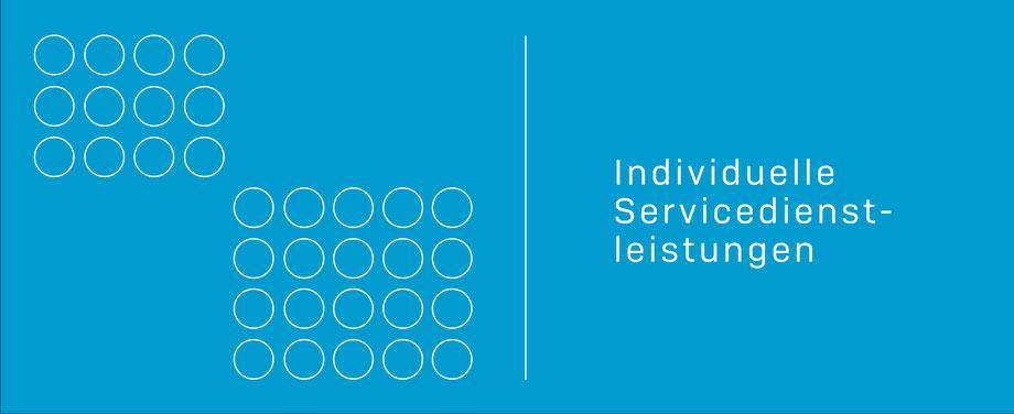 Die Grafik zeigt auf hellblauem Grund zwei unterschiedlich große Rechtecke, bestehend aus mehreren weiß gezeichneten Kreisen. Rechts steht geschrieben: Individuelle Servicedienstleistungen. komjunik - die Marketingagentur und Werbeagentur aus Magdeburg.