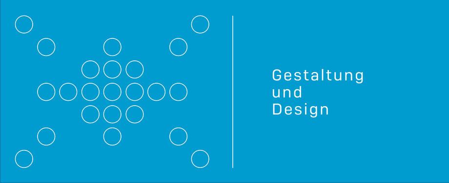 Die Grafik zeigt auf der linken Seite spielerisch angeordnete weiß gezeichnete Kreise, die an einen Stern erinnern. Rechts steht geschrieben: Gestaltung und Design. komjunik - die Marketingagentur und Werbeagentur aus Magdeburg.