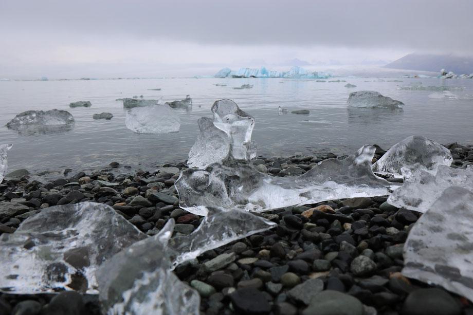 Diamond Beach à Jökulsarlon dans le parc national de Skaftafell en Islande