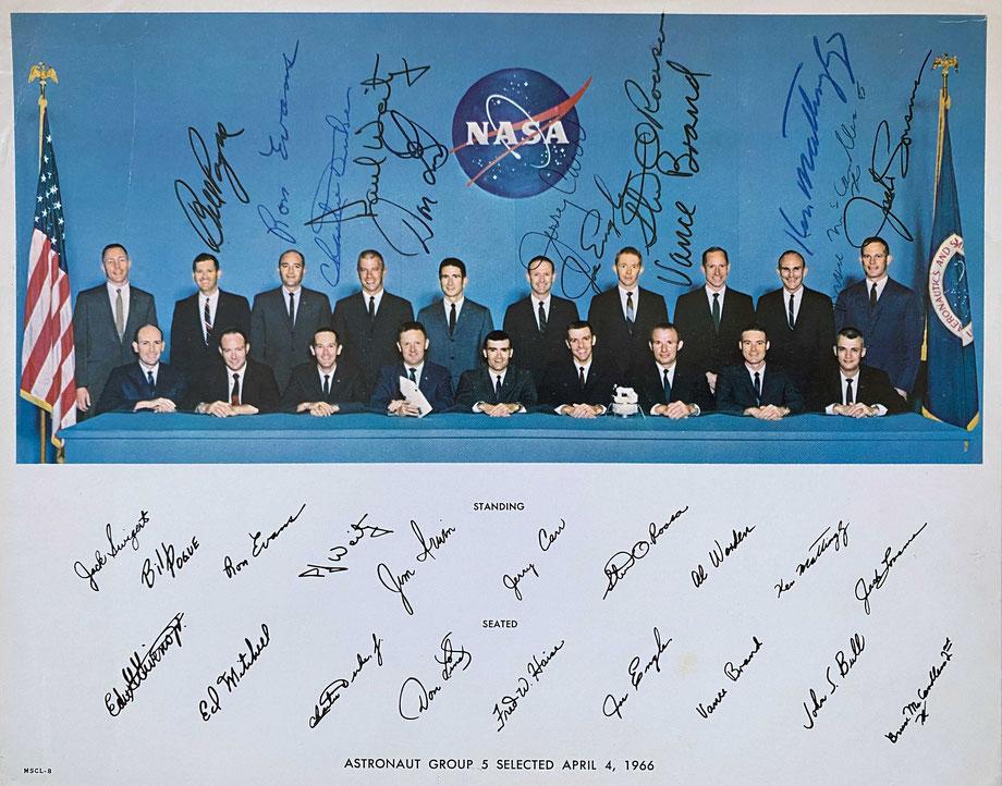 NASA Photo of the Apollo Astronauts Group 5 1966 signed by 12 (Bill Pogue, Ron Evans, Charlie Duke, Paul Weitz, Don Lind, Jerry Carr, Joe Engle, Stuart Roosa, Vance Brand, Ken Mattingly, Bruce McCandless, Jack Lousma), bought with COA