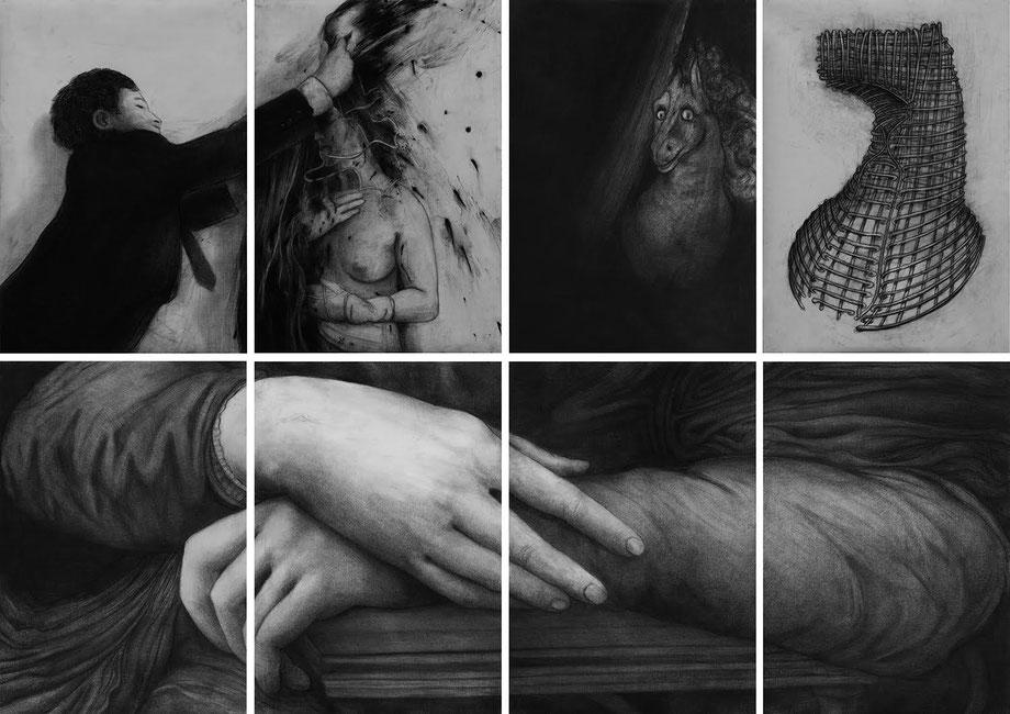 RAINER WÖLZL (Rudolf Schwarzkogler, Johann Heinrich Füssli, Leonardo da Vinci) , Aus der Serie Museum der Schatten, 2016;  Öl, Kohle/Papier, 8-teilig, je 100x70cm, gesamt 200x280cm