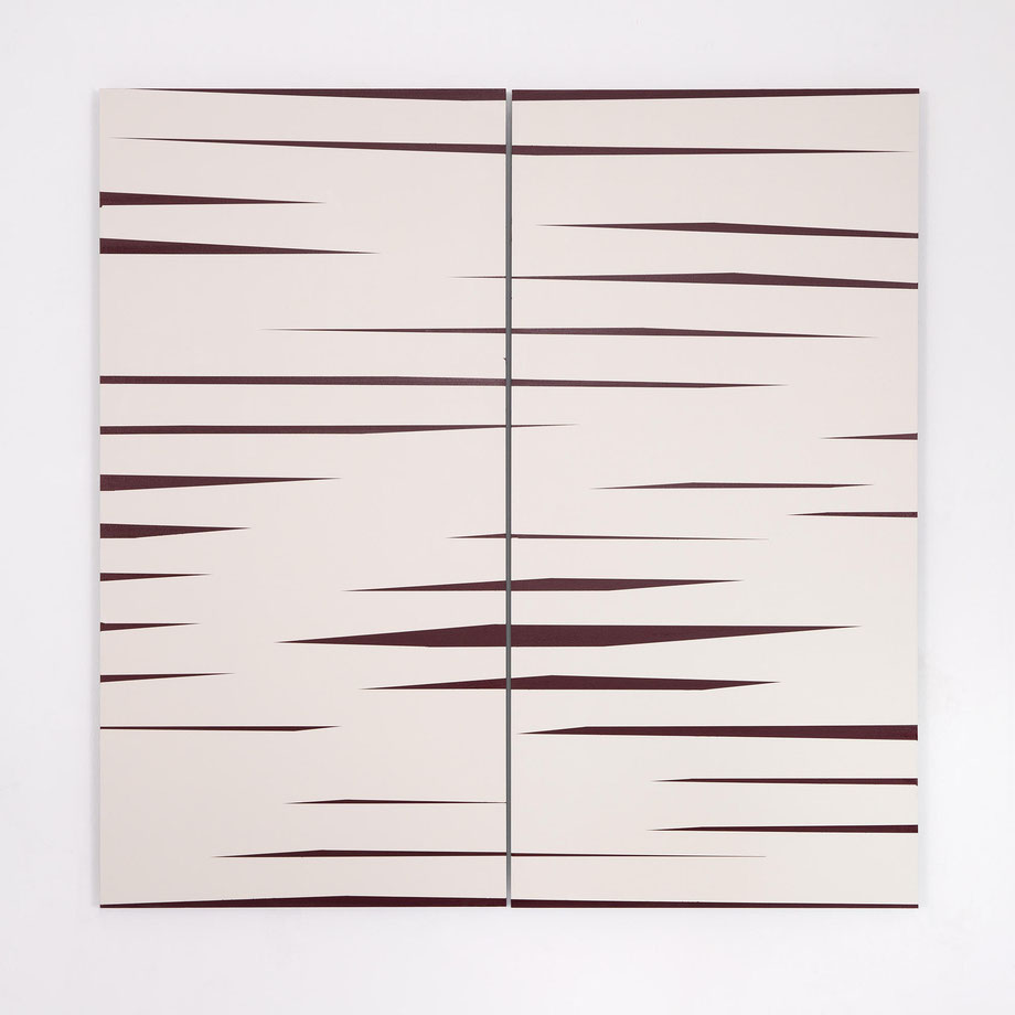 BARBARA HÖLLER, Driften 03, Acryl und Lack auf Aludibond, Diptychon, 2019, 100x100cm