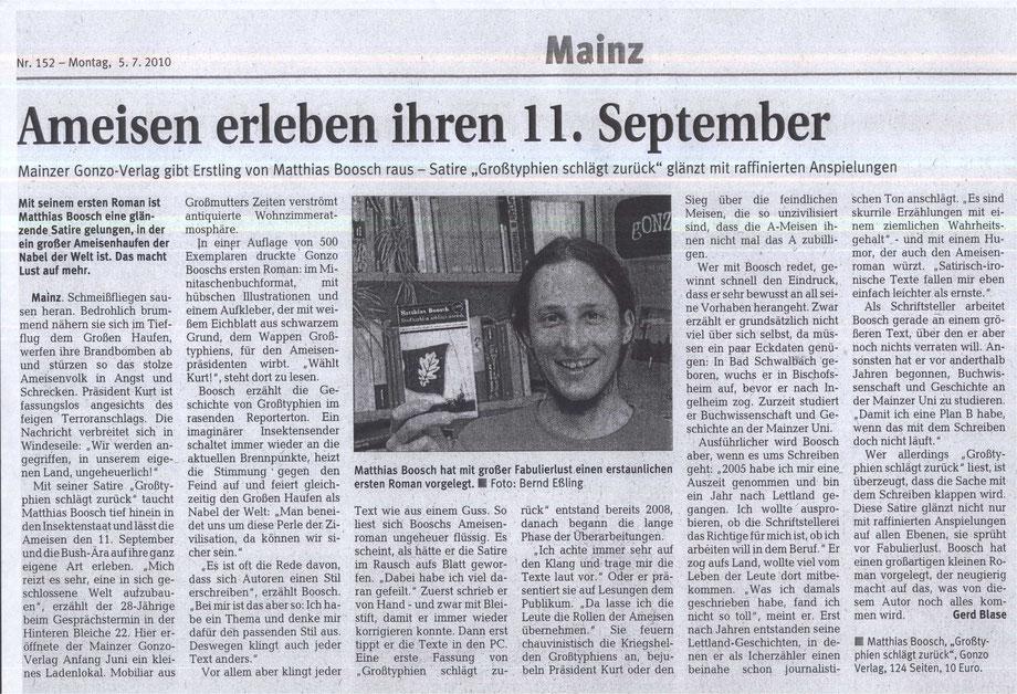 Rhein-Zeitung, Rezension zu Großtyphien schlägt zurück