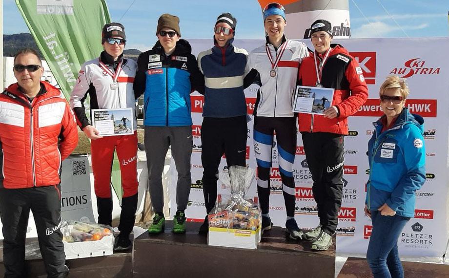 Österreichische Meisterschaften Skilanglauf 2019 Individual classic. Nils Kurz (Turn- und SU Raika Obertilliach), Gleirscher Gotthard (WSV Neustift) und Huber Jonas (I.SPORTVEREINIGUNG HOHE WAND)