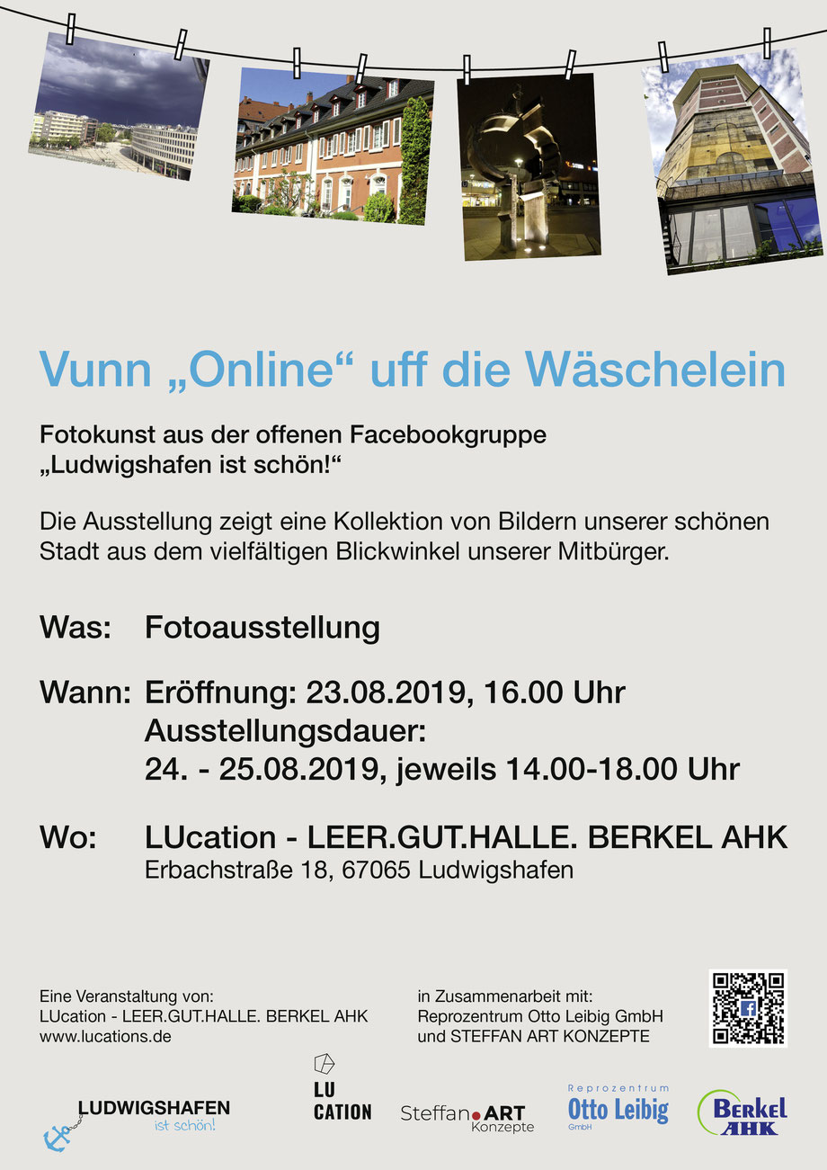 """Plakat Vuun """"Online"""" uff die Wäschelein_ LUcation - LEER.GUT.HALLE. BERKEL AHK"""