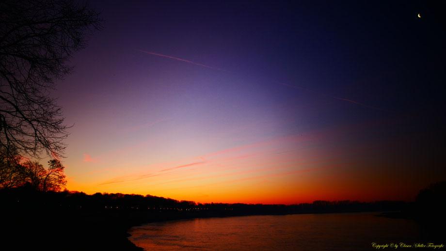 Sonnenaufgang, Kornfeld, Baum, Sonnenstrahlen, Wolken, Rhein,