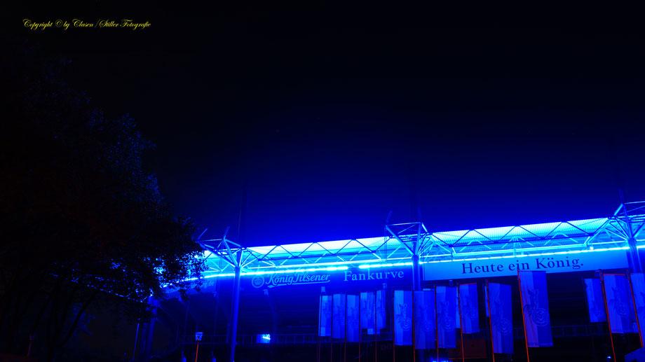 Duisburger Fußballstadion, Hüttenwerke Duisburg, Clasen/Stiller Fotografie, Udo Clasen, Patrick Stiller, Nachtaufnahme, Langzeitbelichtung, Sonnenaufgang, Sonnenuntergang, grün, blau, orange, gold, gelb, Pflanzen, Baum, Bäume, HDR, Düsseldorf, Duisburg,