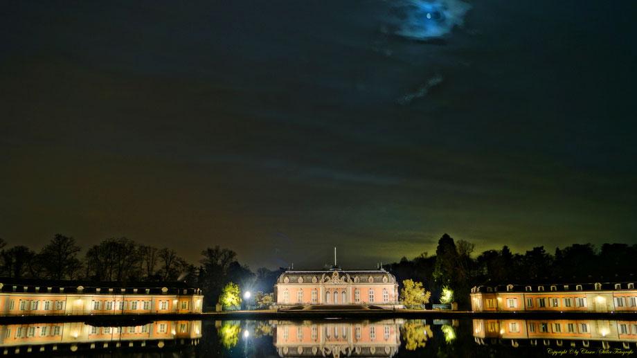 Nachtaufnahme, Langzeitbelichtung, Baum, Sonnenaufgang, Sterne, Mond, Düsseldorf, Benrath, Schloss,